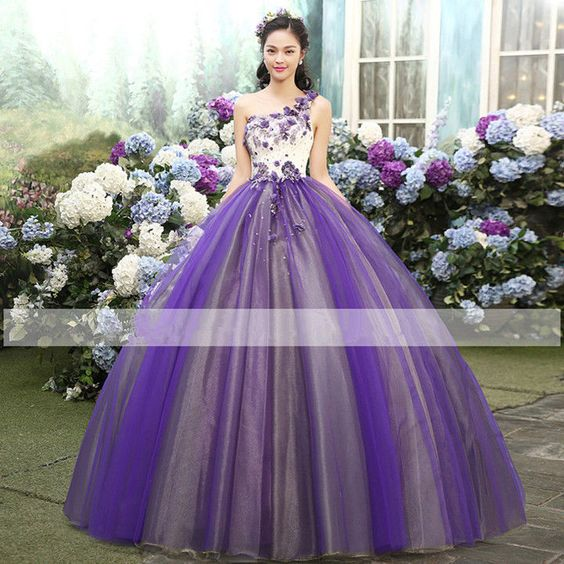 Applique Quinceanera Dresses Party Pageant Ball Gown One Shoulder Wedding Dress #victor10188 #BallGown #Cocktail