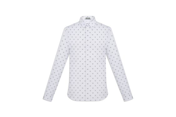 """Shirt White cotton with grey stripes, """"heart"""" print - Ready-to-wear Dior"""
