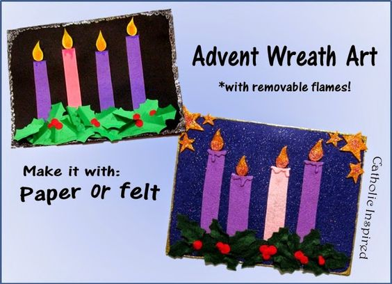 advent wreath art project with removable flames paper or. Black Bedroom Furniture Sets. Home Design Ideas