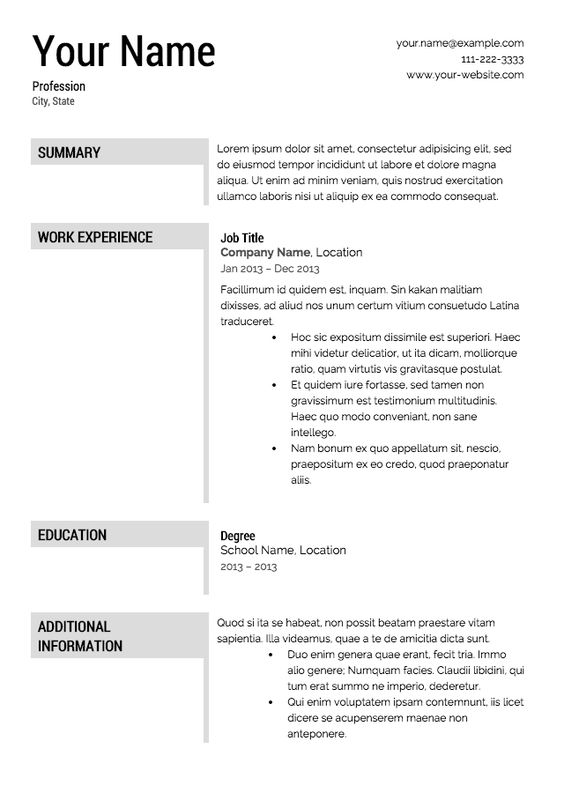 Free Resume Templates Work related tips Pinterest Resume - free nursing resume templates