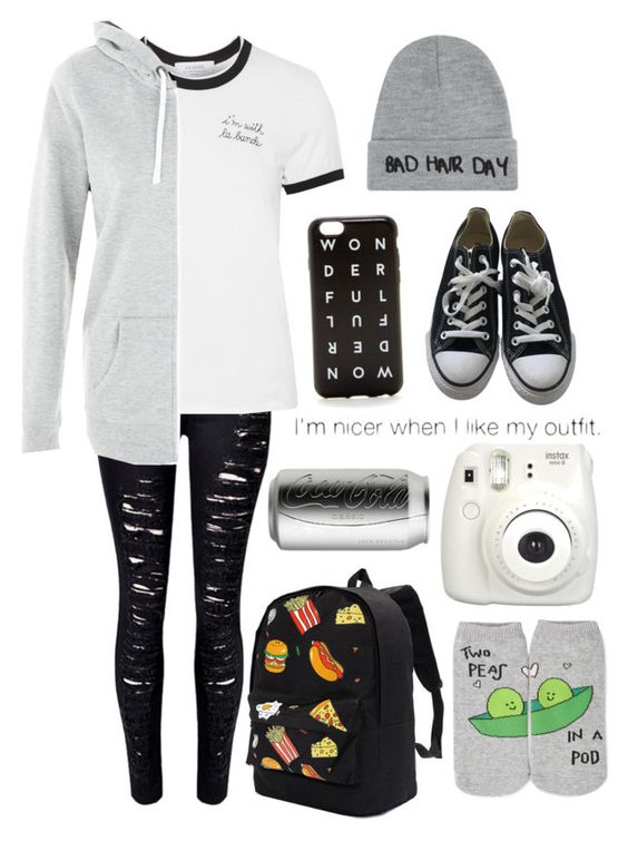 """""""☠"""" by mayleighxox ❤ liked on Polyvore featuring WithChic, Converse, La Ligne, New Look, Local Heroes, J.Crew and Forever 21"""