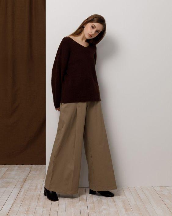 親膚舒適V領大寬袖毛衣|女裝|MEIER.Q