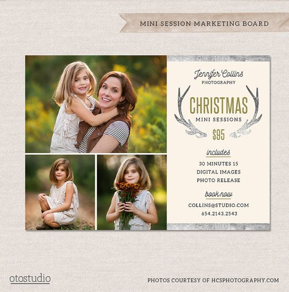 Christmas Mini Session Template - Holiday Photography Marketing Board - Silver Antlers MC012 -  INSTANT DOWNLOAD