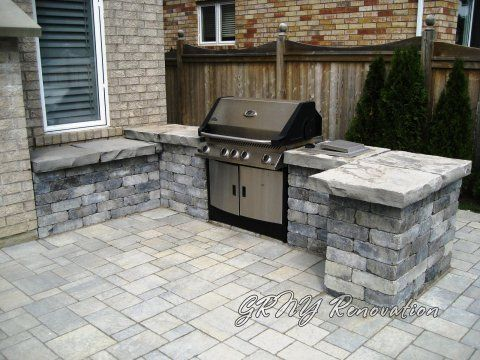 Counters built around existing grill ideas for outside for Outdoor grill cabinet design