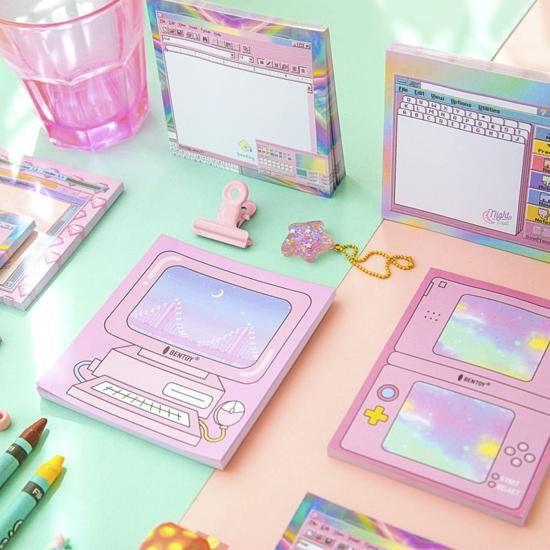 Sticky Note 90s Style Kawaii Notepad Pink Sticky Notes 1990s