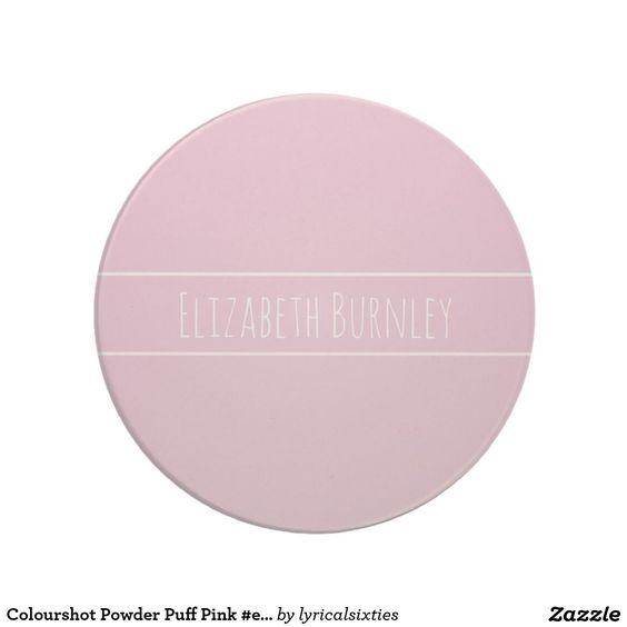 Colourshot Powder Puff Pink #eec0da with your name Coaster.  Don't loose your mug or coaster at the office, put your name on it! This simple, stylish mug with its elegant, thin, white stripes can be personalized with your name in a stylish script, and there is a matching mug.
