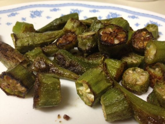 roasted okra - tastes like fried okra, except no cornmeal and no stirring!