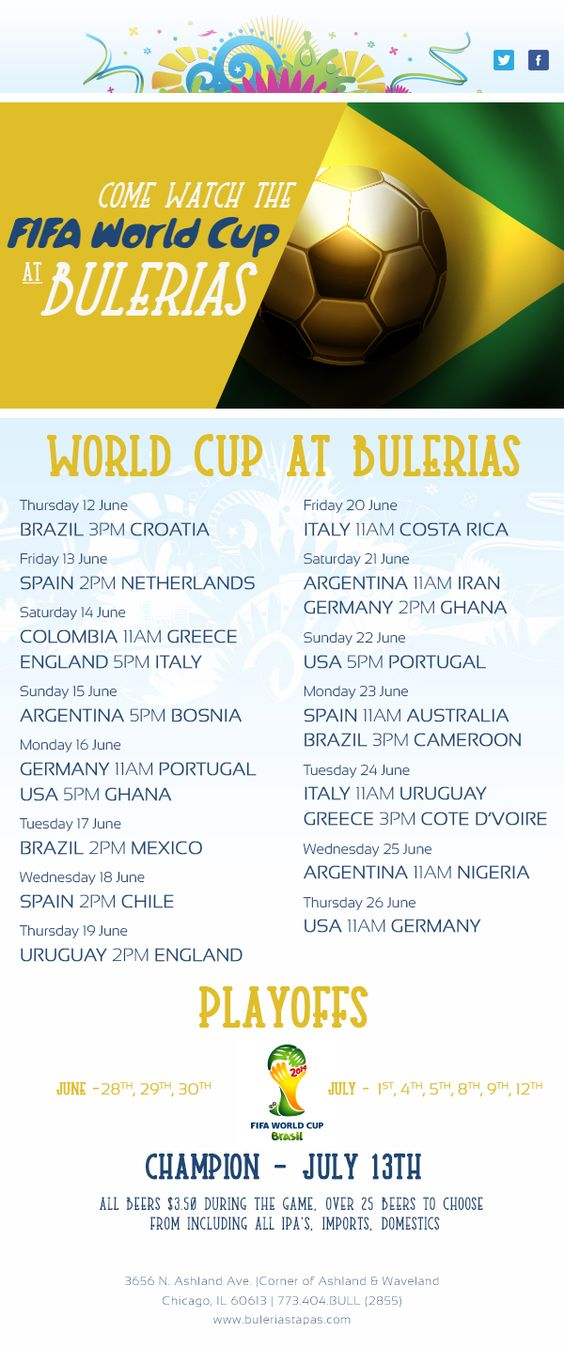 World Cup Schedule shown @ Bulerias Tapas Chicago
