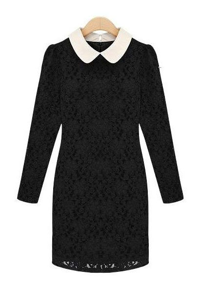 Lace long-sleeved dress (2 colors)_daily dress_Dresses_CLOTHING_Voguec Shop