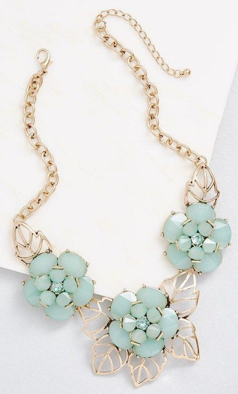 Floral Statement Necklace - Boom, Boom, Bloom Statement Necklace: This golden statement necklace is about as bold as it gets! Glimmering dusty aqua faux gemstones form eye-catching flowers on this fabulous piece, filling your look with can't-miss-it flair. #StatementJewelry #StatementNecklace #Jewelry #necklace