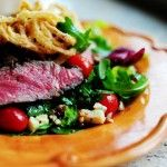 Big Steak Salad w/ homemade onion rings.