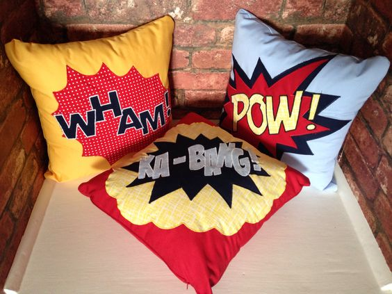 Batman cushions I made for my little boys bedroom.