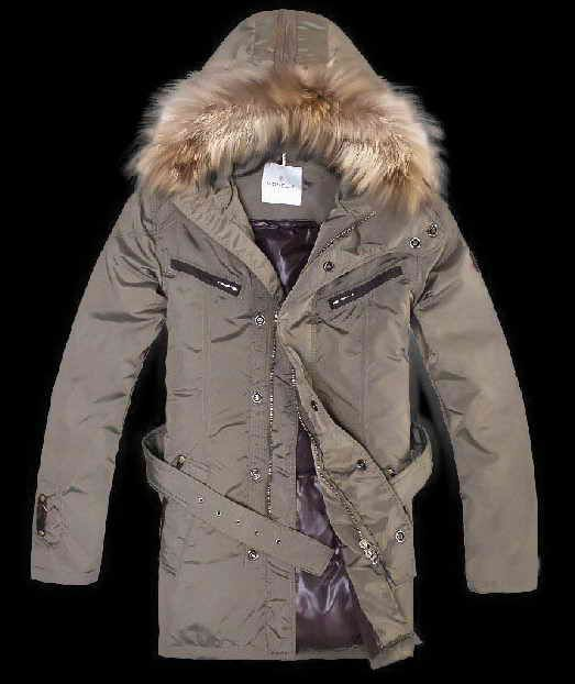 Men's Moncler Belted Detachable Fur Collar Coats Khaki | Hiking ...