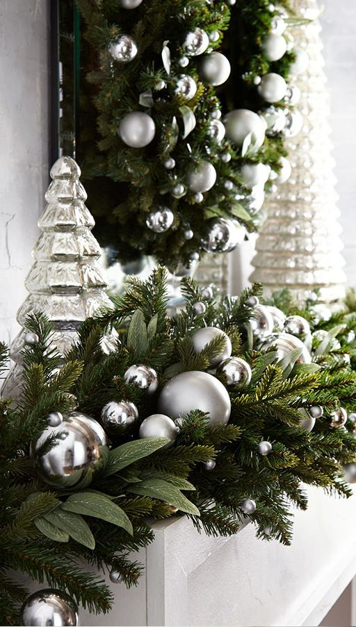Silver And White Christmas Ornaments Silver Christmas Tree Silver Christmas Decorations White Christmas Ornaments