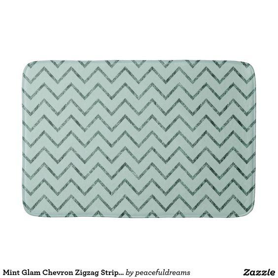 Mint Glam Chevron Zigzag Stripes Bath Mats