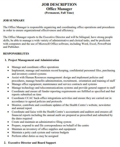 Office Manager Job Description Template Office Manager Job Description Job Description Template Job Description