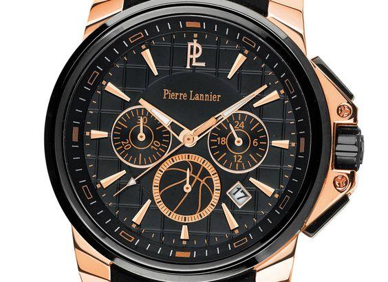 Pierre Lannier réaffirme son amour du basket et dévoile une montre au look sportif en marge du championnat d'Europe de basket 2015.