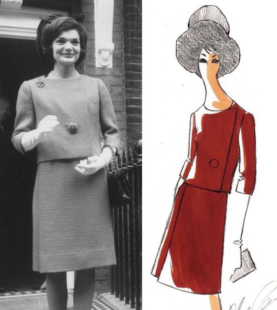 Jackie Kennedy wears a dark coral colored wool dress with a matching jacket designed by Oleg Cassini while visiting her sister, Lee Radziwill, in London before a meeting with Queen Elizabeth on March 28, 1962.