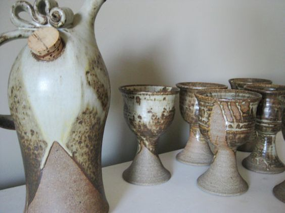 Set Of 6 Vintage Ceramic Stone Wine Goblets With Matching