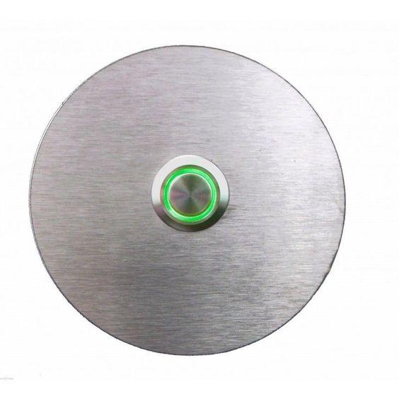 Türklingel Edelstahl Rund, Klingelplatte, Metallplatte, Klingelknopf LED Grün