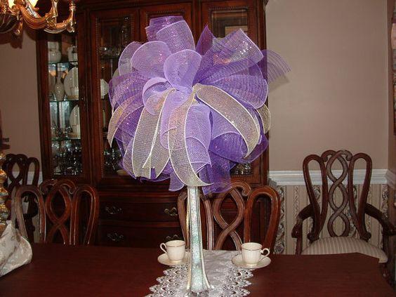 Mesh ribbon centerpieces purple deco centerpiece