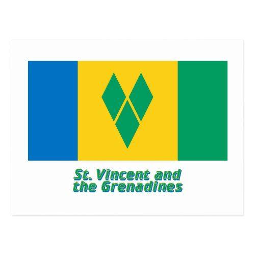 Saint Vincent Flag With Name Postcard Zazzle Com Flags With Names St Vincent Flag Personalized Custom