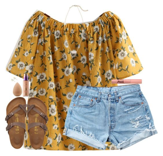 """Untitled #1817"" by southernstruttin ❤ liked on Polyvore featuring Levi's, Birkenstock, Kendra Scott and beautyblender:"