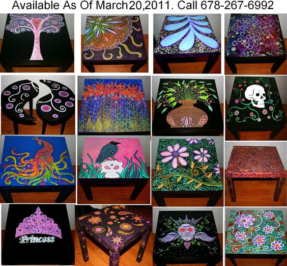 Funky Home Decor: Hand Painted Coffee Tables/Nightstands