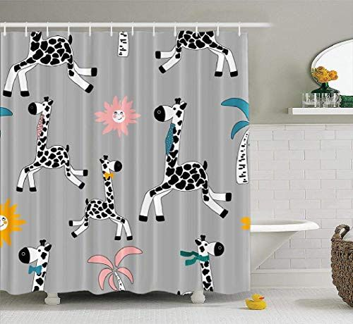 Spxubz Grey Tree Vector Shower Curtain Drawn Colorful Pastel Cute Animal Art Baby Black Fabric Bathroom S In 2020 Shower Curtain Decor Fabric Shower Curtains Curtains
