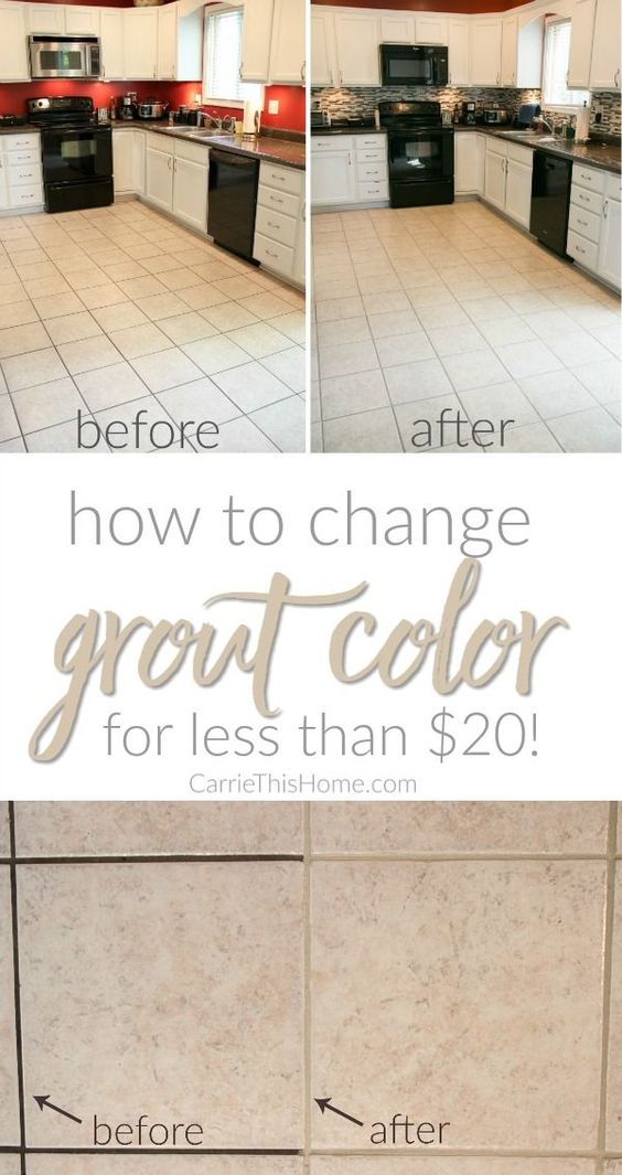 Just look at the difference! The results were almost instantaneous and the best part is it cost LESS than $20! All it took was a little work & now we finally we had the grout color we wanted! How To Change Grout Color For Less Than $20 from http://CarrieThisHome.com