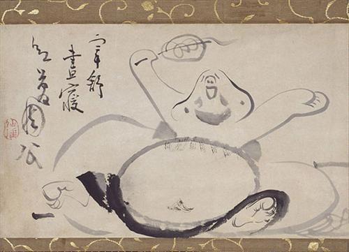 Hotei Wakes from a Nap - Sengai