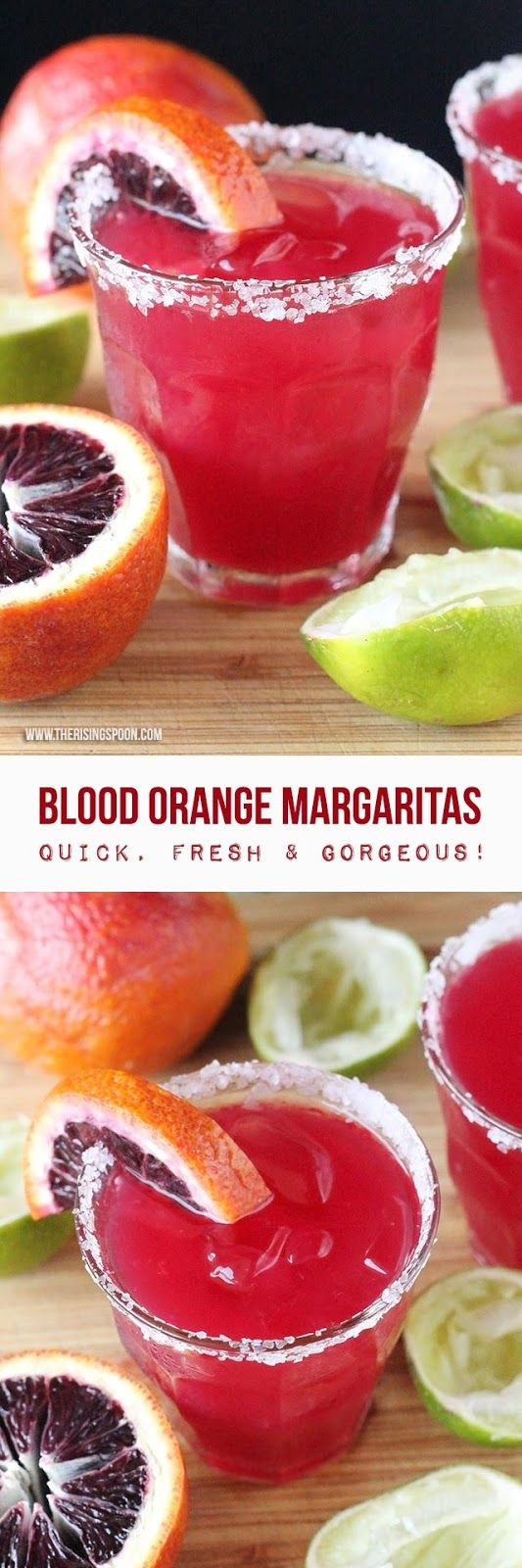 Homemade margaritas made with fresh blood orange juice, limes, raw honey, and 100% agave silver tequila. This drink recipe looks beautiful (blood oranges give it a wonderful hue) and goes down easy!