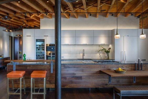 Khouri Guzman Bruce Lininger - Interior Designer - New York - Contemporary - Modern - Bar - Kitchen - Neutrals - Wood Floor - Wood Counter - Upholstered Bar Stool - Bench - Marble Countertop - Sink  - White Cabinets - Wood Ceiling - Wood Panels - Ceiling Lights - Hanging Lights