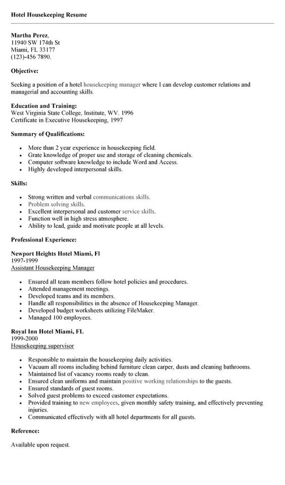 Housekeeper Resume Of A Housekeeping Resume Housekeeper Resume LiveCareer  Patient Service Representative Resume Executive Housekeeper Resume