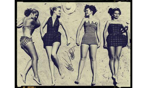 Lying women.: Fashions Photographic, Bathing Suits, Wearing Latest, Models Sunbathing, Sunbathing Wearing, Florida 1950, Latest Beach, Vintage Photo