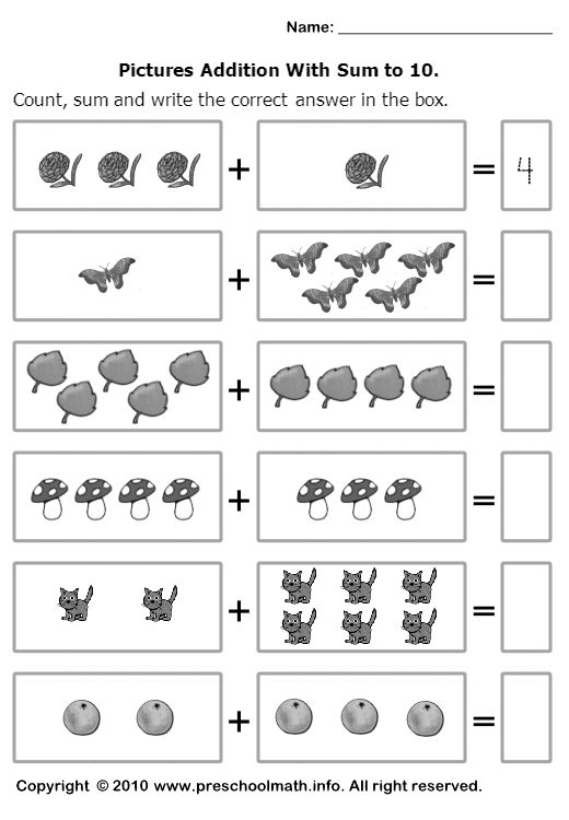 math worksheet : count sum and write the correct number in the box  printable  : Addition Worksheets For Kindergarten With Pictures