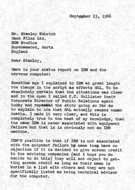 Filmmaker Stanley Kubrick Thought IBM Would Get Mad About His - i have no objection
