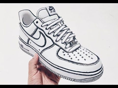 Sketch Nike Air Force 1 low white hand painted Custom in