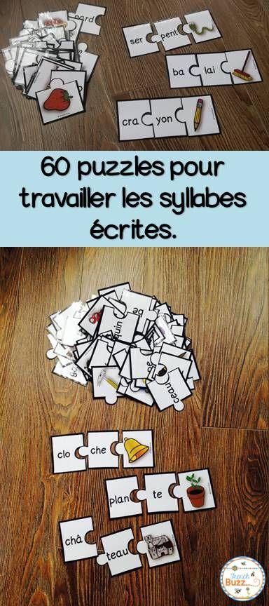 Jeu de puzzles (casse-tête) pour s'amuser avec les mots de 2 syllabes dans les…