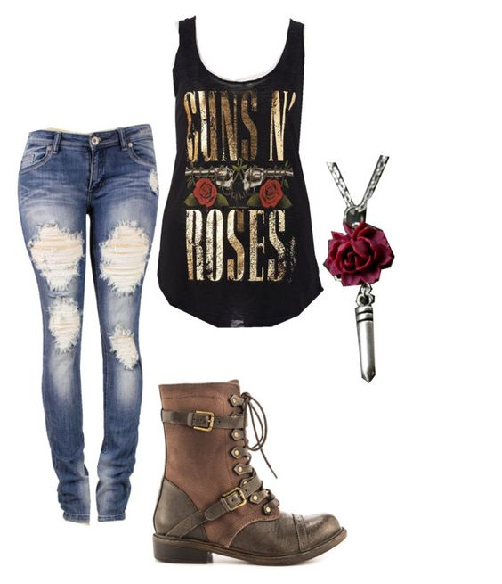 Cute vintage Guns n' Roses outfit by mimijojo on Polyvore featuring polyvore, fashion, style, ZIGIgirl, Bullet and vintage: