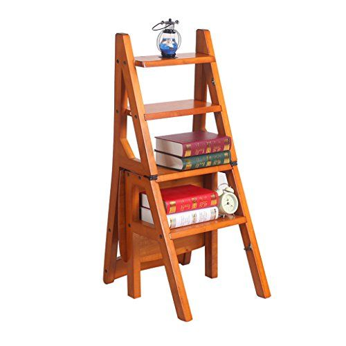 Home Library Multifunction Step Stool,Brown Four Step Stool Folding Wooden Stepladder