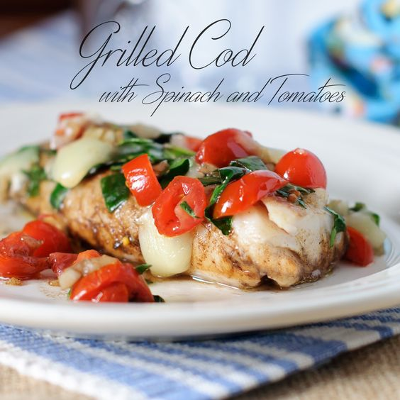 Grilled Cod with Spinach and Tomatoes #AllrecipesFaceless #AllrecipesAllstars…
