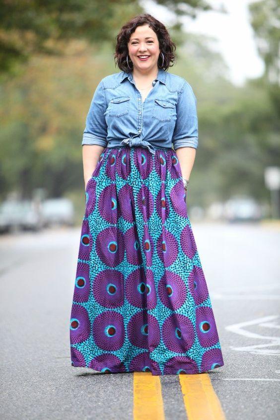 taglia 40 6a04f d1685 camicia di jeans con la gonna lunga | African wear | Gonne ...