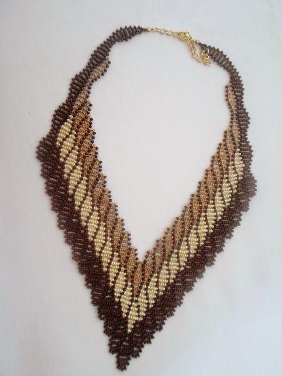 Passo a Passo Maxi colar de miçangas   NM Bijoux Núbia Maia
