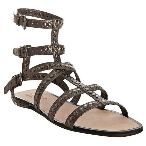 Kors Michael Kors Gunmetal Studded Leather 'Yes' Gladiator Sandals ($29) ❤ liked on Polyvore featuring shoes, sandals, scarpe, women, metallic gladiator sandals, metallic sandals, flats sandals, studded sandals and open toe flats