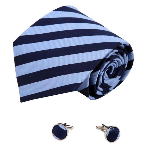 """A2043 Midnight Blue Stripes Fantastic Accessories Cornflower Blue One Size Silk Ties Cufflinks Set 2PT By Y&G. Brand name: Y&G. Material: 100% Woven Silk. Size: Tie--59.05""""*3.74"""" ,Cufflink -- 0.63""""*0.63"""". Package: With Free Gift Box. Set including: Tie, Cufflinks."""