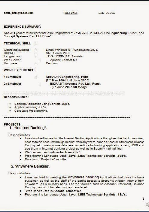 machine operator resume sample Excellent CV \/ Resume \/ Curriculum - j2ee fresher resume