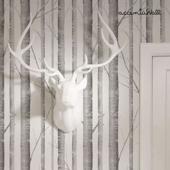Fabric Wallpaper Birches And Wallpapers On Pinterest