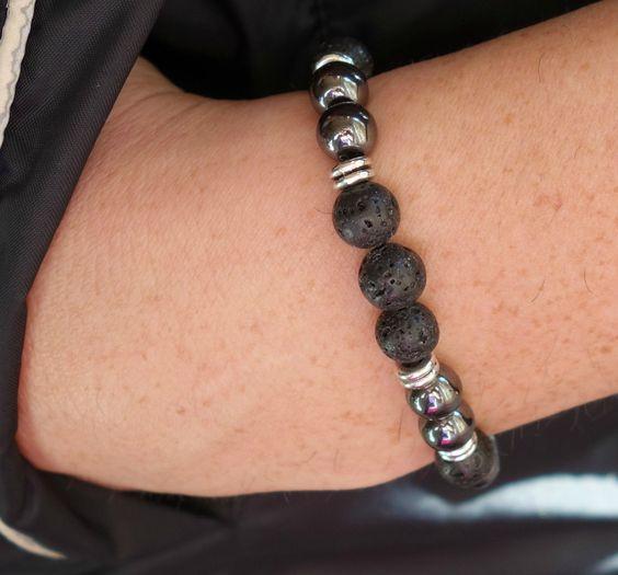 GET 10% DISCOUNT Black Mens bracelet Hematite bracelets Mens Yoga bracelet Black lava stone Bracelet mens wrist mala bracelet power bracelet di SoulJewelryOliH su Etsy