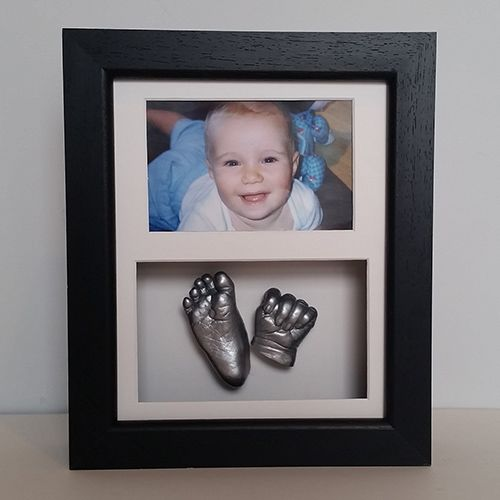 Luxury Hardwood 10x8 Double Black Frame With White Mounts And Silver Casts Of A 4 Month Old Baby 4 Month Old Baby Baby Cast Baby Hands